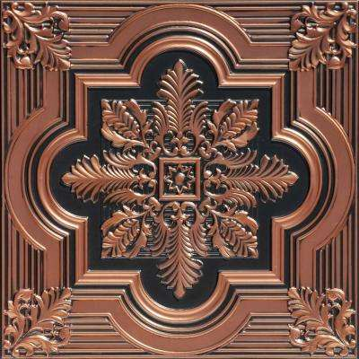 Large Snowflake 2 ft. x 2 ft. PVC Glue-up or Lay-in Ceiling Tile in Antique Copper