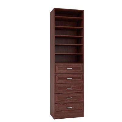 15 in. D x 24 in. W x 84 in. H Sienna Cherry Melamine with 6-Shelves and 5-Drawers Closet System Kit