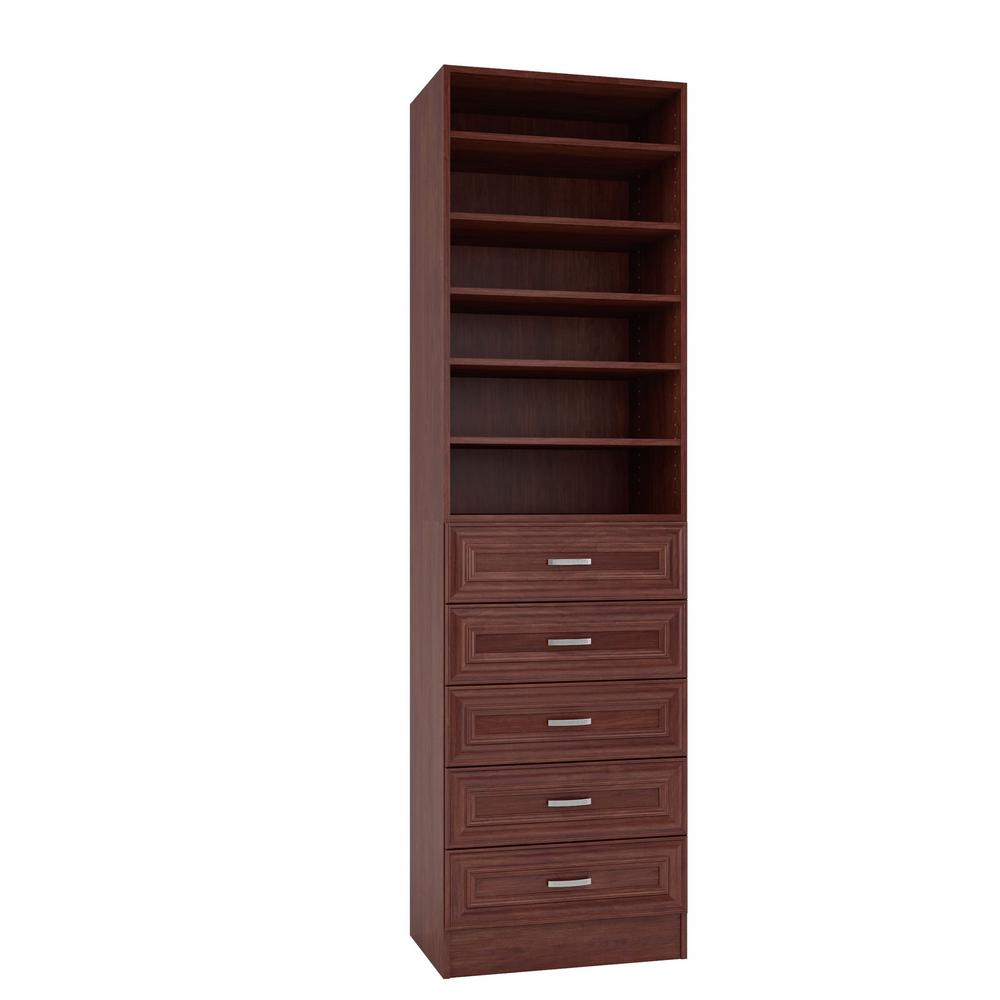 Home Decorators Collection 15 in. D x 24 in. W x 84 in. H Sienna Cherry Melamine with 6-Shelves and 5-Drawers Closet System Kit