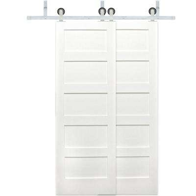 48 in. x 80 in. Bypass 5-Panel Solid Core Primed Pine Wood Barn Door with Stainless Steel Sliding Door Hardware Kit
