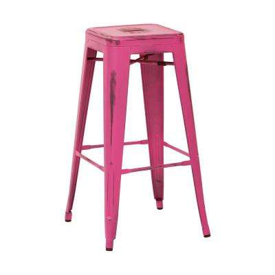 Bristow 30 in. Antique Pink Metal Barstool (4-Pack)