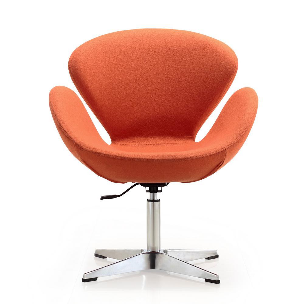 Orange Wool Blend Raspberry Adjustable Swivel Chair