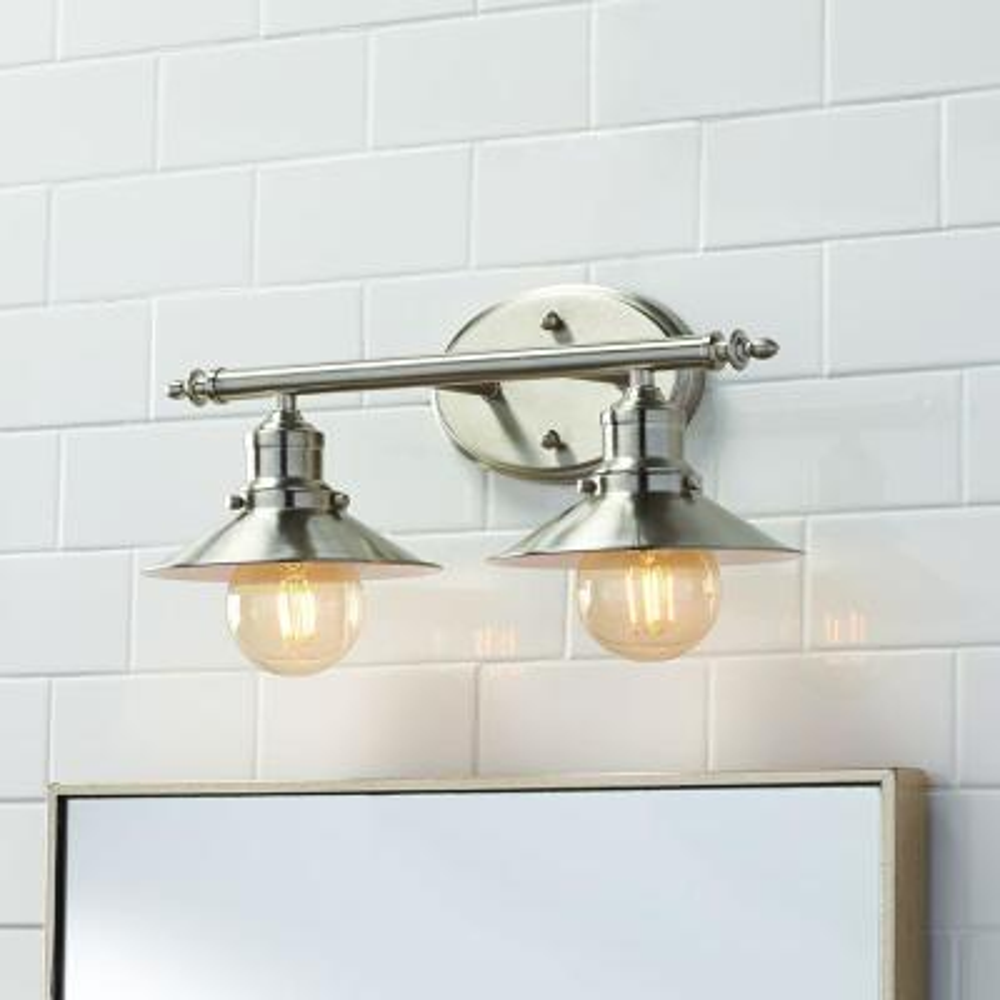 Glenhurst 2-Light Brushed Nickel Retro Vanity Light with Metal Shades