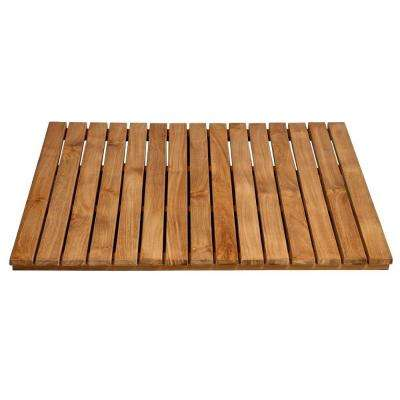 30 in. x 30 in. Bathroom Shower Mat in Natural Teak