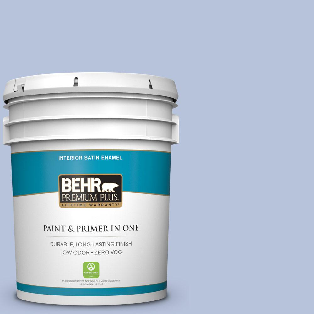 5 gal. #610C-3 Virginia Blue Zero VOC Satin Enamel Interior Paint