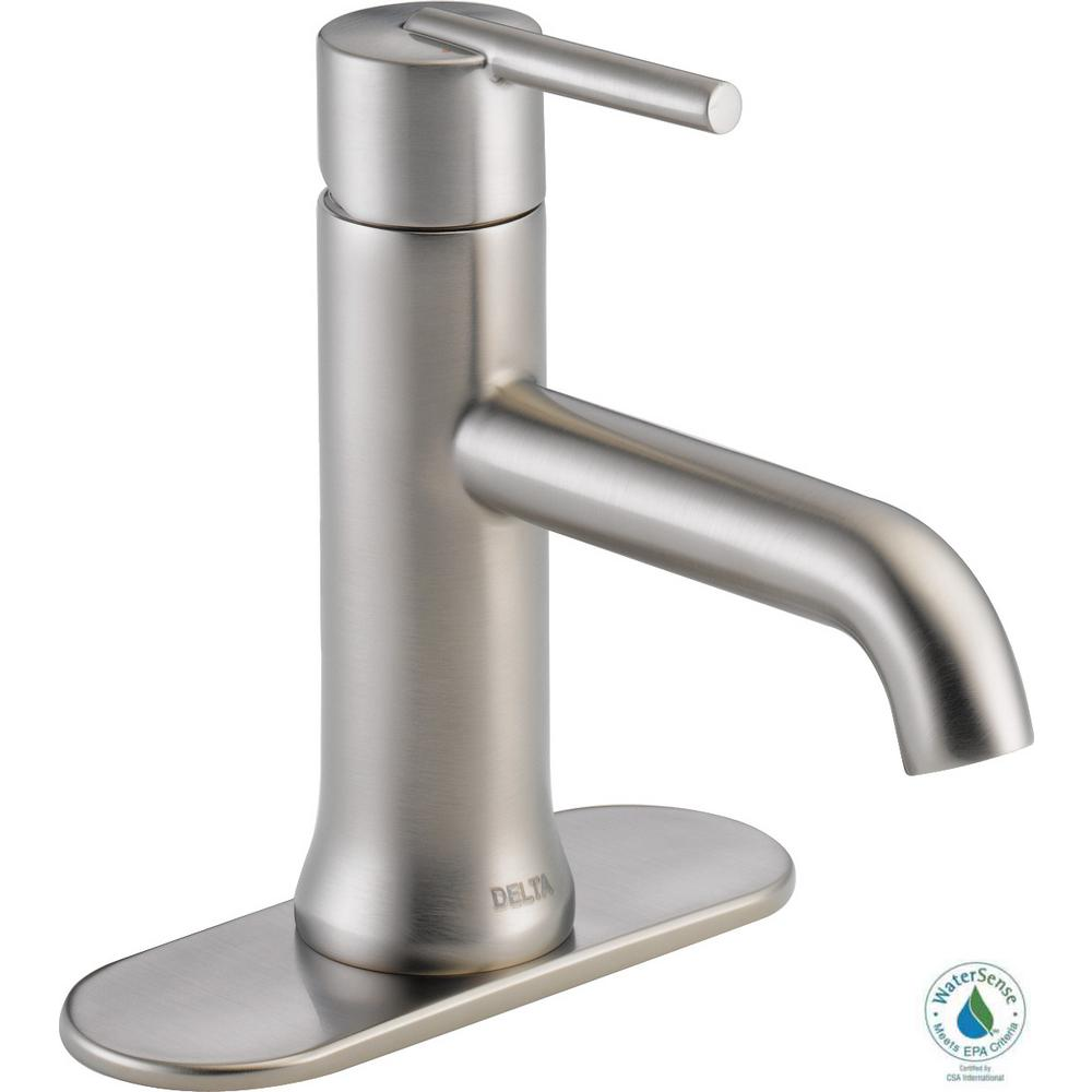 Delta Trinsic Single Hole Single-Handle Bathroom Faucet in Stainless
