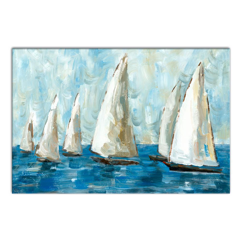 24 in. x 36 in. ''Blue Coastal Sailboat Race'' Printed Canvas