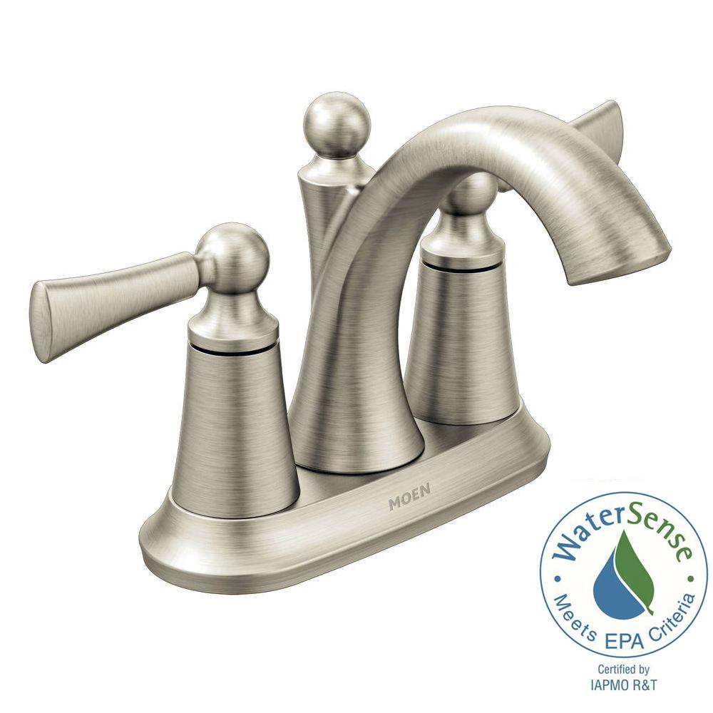 MOEN Wynford 4 in. Centerset 2-Handle High-Arc Bathroom Faucet in ...
