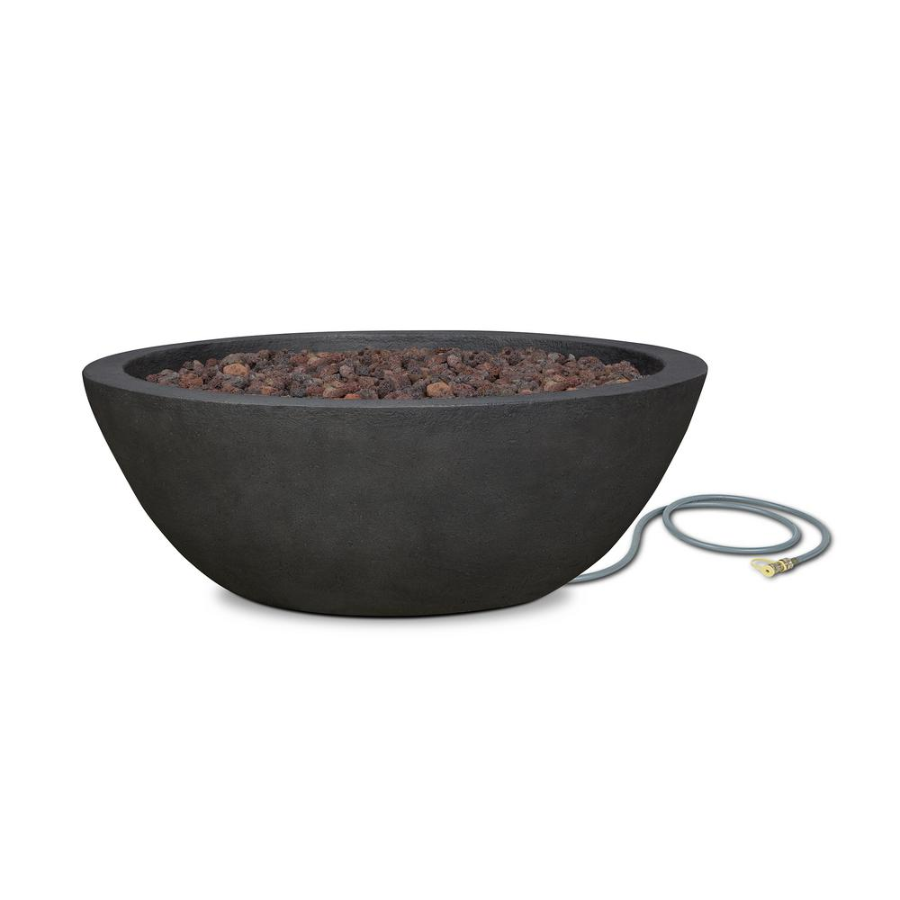 Real Flame Riverside 36 in. x 13 in. Round Cast Concrete Propane Fire Pit in Shale with Natural Gas Conversion Kit