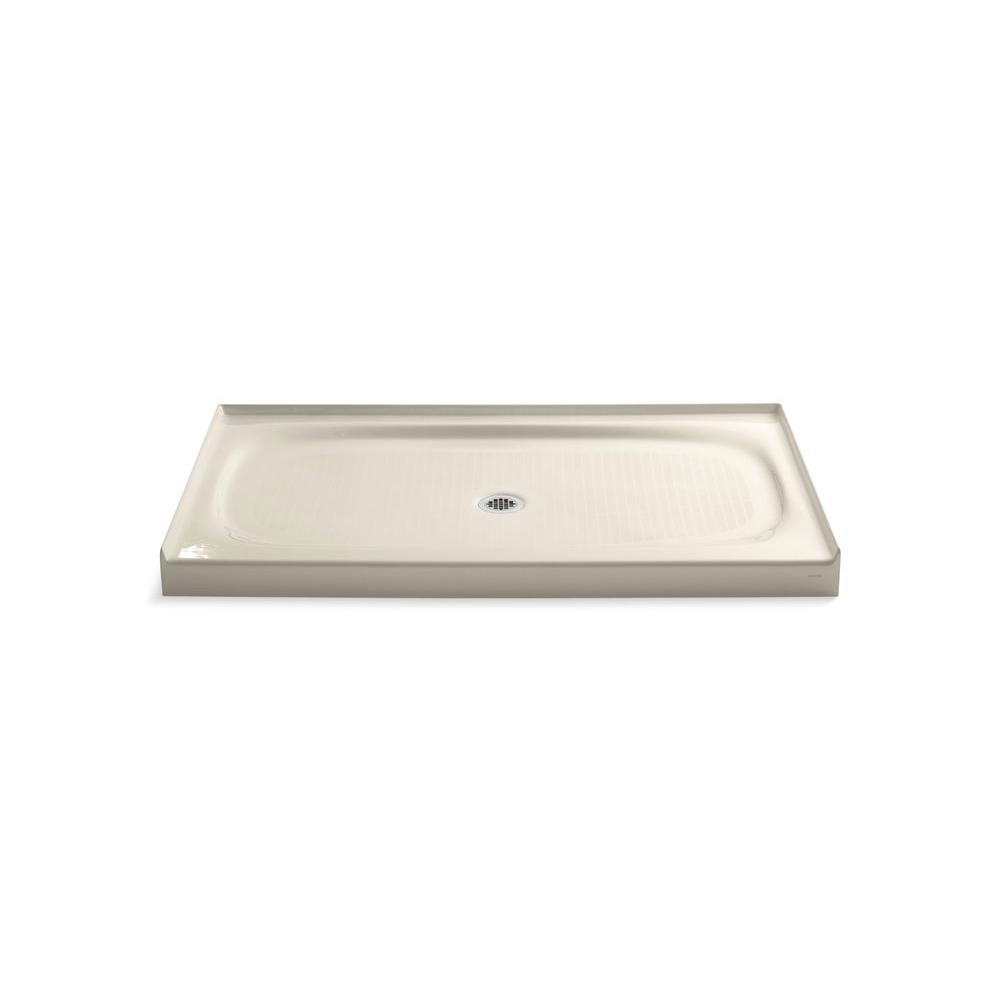 KOHLER Salient 60 in. x 36 in. Single Threshold Shower Base in Almond