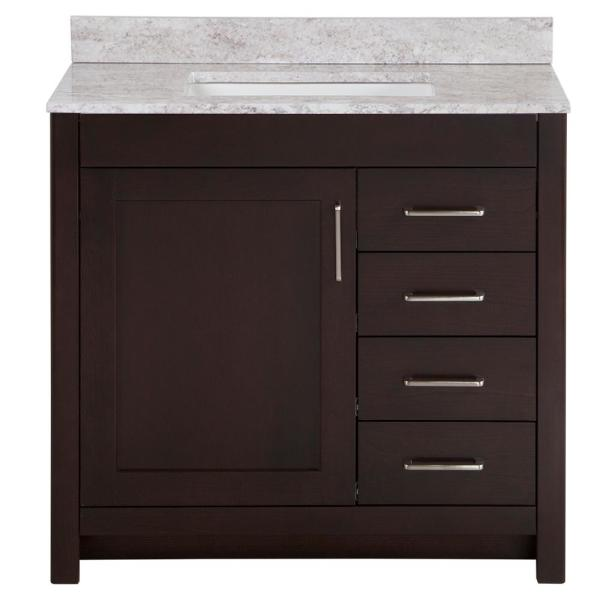 Westcourt 37 in. W x 22 in. D Bath Vanity in Chocolate with Stone Effect Vanity Top in Winter Mist with White Sink