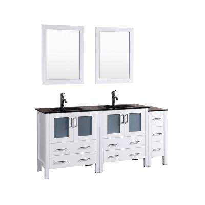 72 in. W Double Bath Vanity in White with Tempered Glass Vanity Top with Black Basin and Mirror