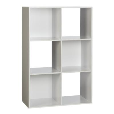 36.25 in. White Wood 6-shelf Cube Bookcase with Open Back