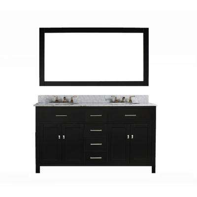 San Clemente 60 in. Vanity in Espresso with Italian Carrara Marble Vanity Top in White with White Basin and Mirror