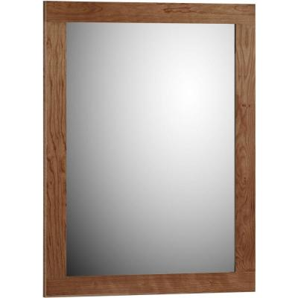 Shaker 24 in. W x 32 in. H Framed Rectangular Bathroom Vanity Mirror in medium alder