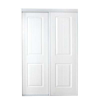 59 in. x 80 in. 107 Series Primed White 2-Panel Bead Board Curved Primed MDF Sliding Door