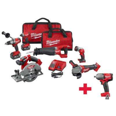 M18 FUEL 18-Volt Lithium-Ion Cordless Combo Kit (6-Tool) with Free M18 FUEL 1/2 in. Mid-Torque Impact Wrench