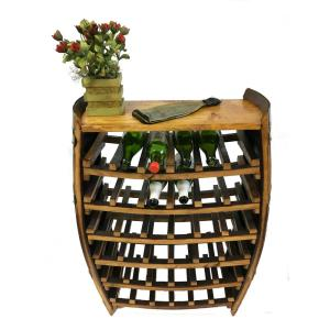 Click here to buy  36 inch H x 26 inch W Lacquer Whole Barrel Wine Rack with 2-Shelves Holds 30-Bottles.