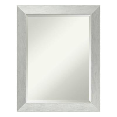 Brushed 22 in. W x 28 in. H Framed Rectangular Beveled Edge Bathroom Vanity Mirror in Brushed Silver