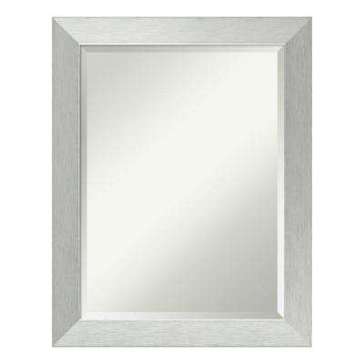 Brushed Sterling Silver Wood 22 in. x 28 in. Contemporary Bathroom Vanity Mirror