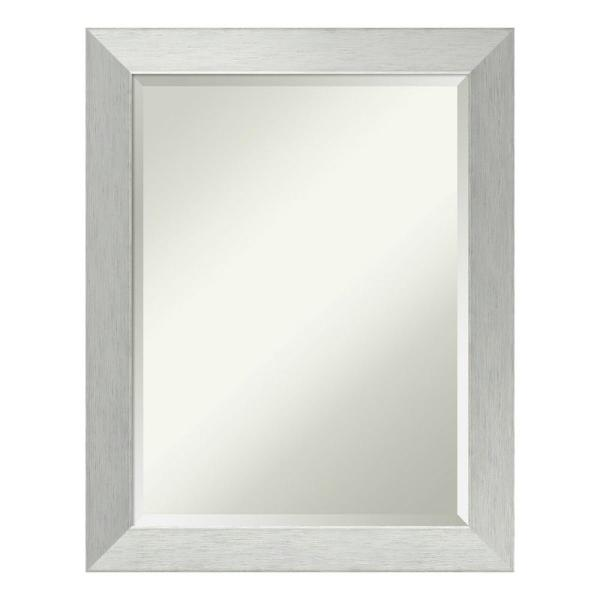 Amanti Art Brushed Sterling Silver Wood 22 in. x 28 in. Contemporary Bathroom Vanity Mirror