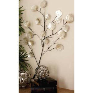 37 inch x 27 inch Pearl White Shell Flowers with Black Iron Branches Wall Decor by