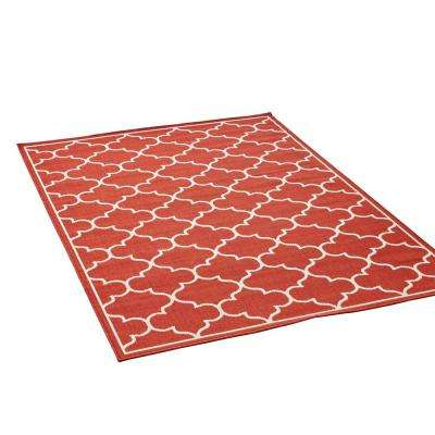 Thornhill Red and Ivory 8 ft. x 11 ft. Trellis Indoor/Outdoor Area Rug