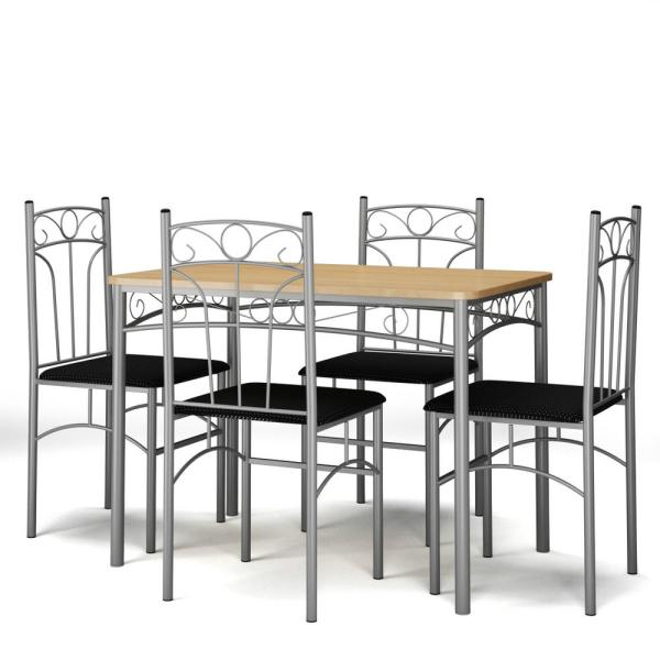 5-Piece Silver frame Dining Set Table and 4-Chairs Kitchen Breakfast Furniture with Metal Legs
