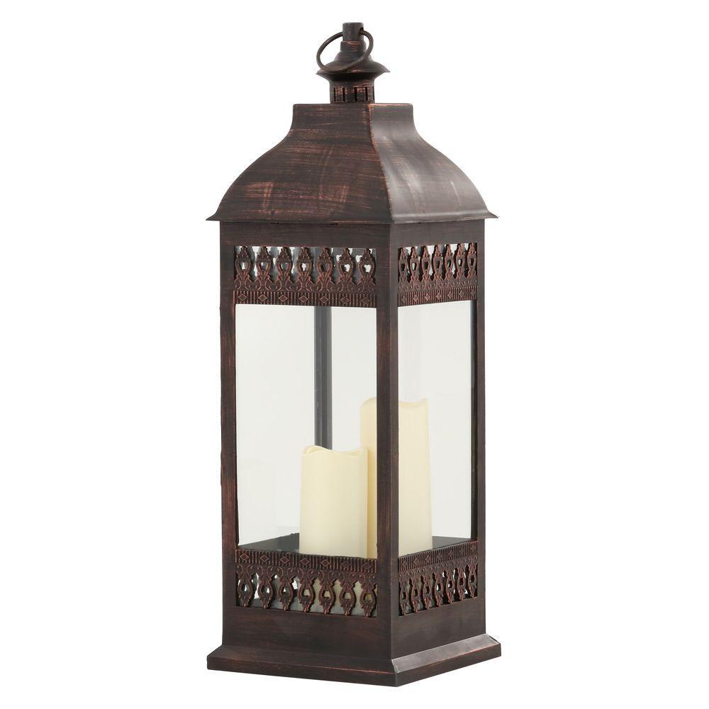 San Nicola Triple Bronze LED Candle Lantern
