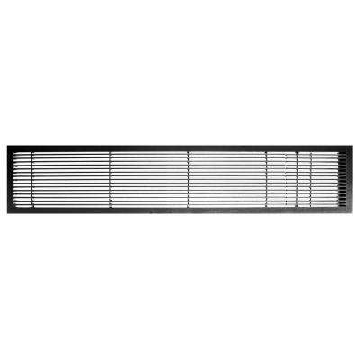 AG10 Series 6 in. x 24 in. Solid Aluminum Fixed Bar Supply/Return Air Vent Grille, Black-Gloss with Door