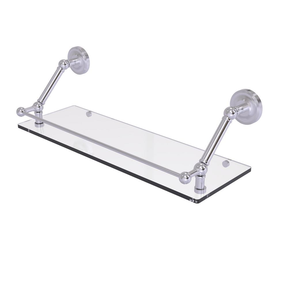 Prestige Regal 24 in. Floating Glass Shelf with Gallery Rail in Satin Chrome