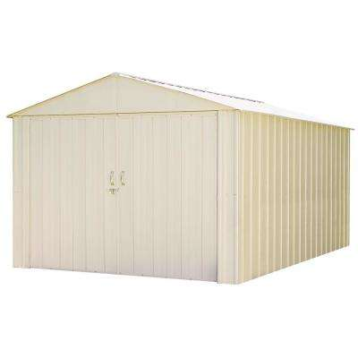Commander 10 ft. W x 15 ft. D White Hot-Dipped Galvanized Metal Storage Shed