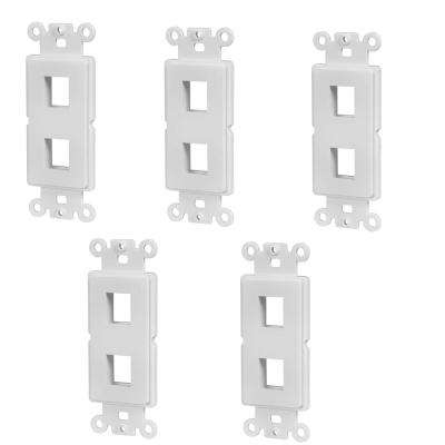 2-Port Decor Data Wall Plate Insert, White (5-Pack)