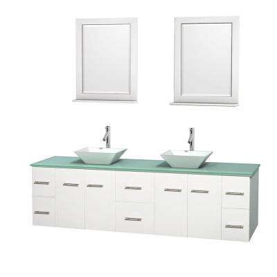 Centra 80 in. Double Vanity in White with Glass Vanity Top in Green, Porcelain Sinks and 24 in. Mirrors