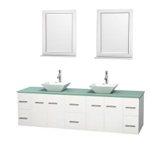 Wyndham Collection Centra 80 inch Double Vanity in White with Glass Vanity Top in Green, Porcelain Sinks and 24 inch... by Wyndham Collection