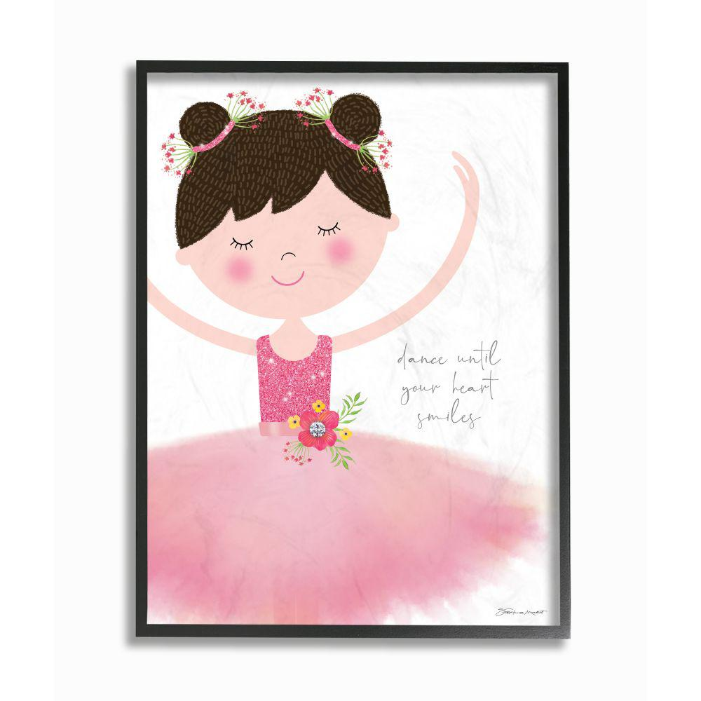 The Kids Room By Stupell 24 In X 30 In Dance Until Your Heart Smiles Ballerina In Pink Tutu By Stephanie Marrott Framed Wall Art Brp 2377 Fr 24x30 The Home Depot