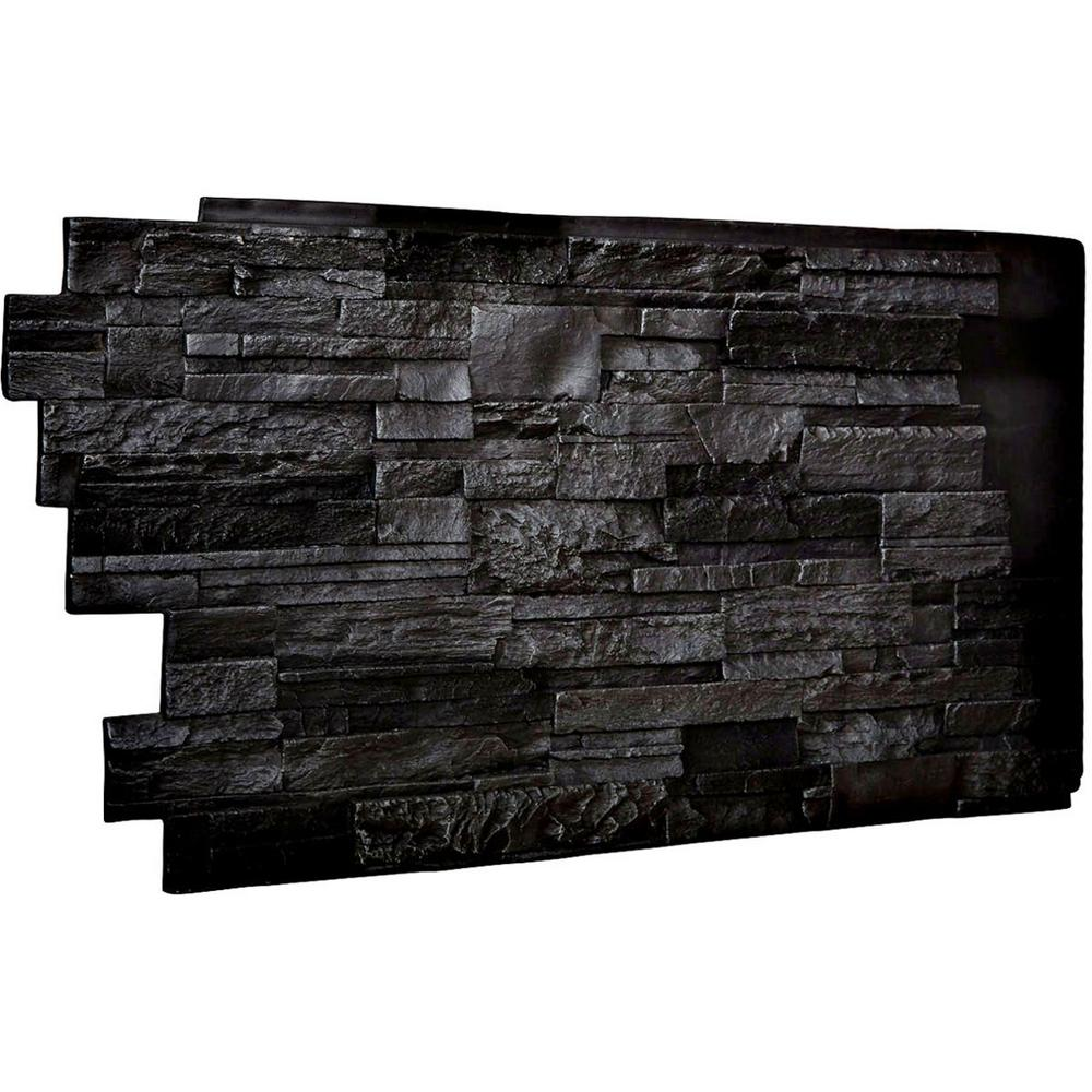 Ekena Millwork 1-1/2 in. x 48 in. x 25 in. Graphite Urethane Dry Stack Stone Wall Panel