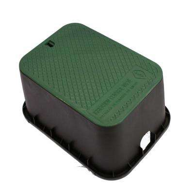 15 in. x 21 in. x 12 in. Deep Rectangular Valve Box in Black Body Green Lid