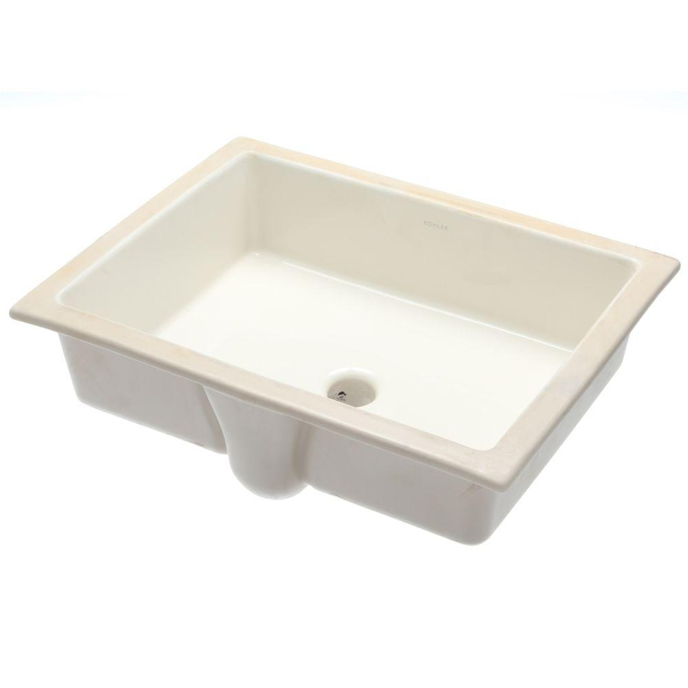 Kohler Verticyl Vitreous China Undermount Bathroom Sink With Overflow Drain In Biscuit