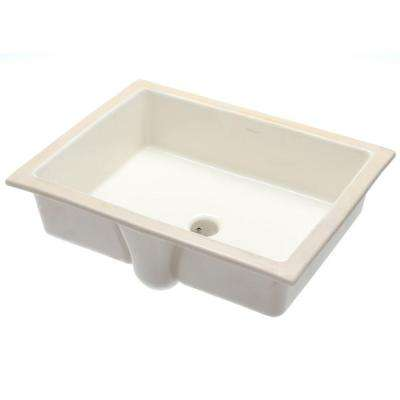 Verticyl Vitreous China Undermount Bathroom Sink with Overflow Drain in Biscuit with Overflow Drain