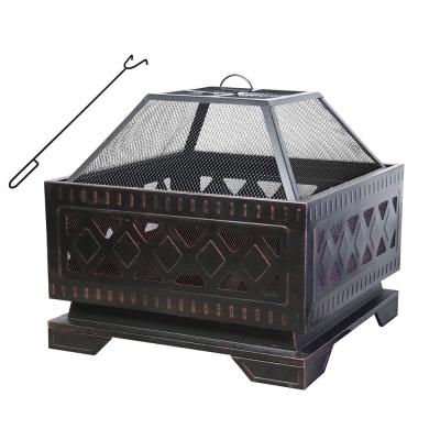 25 in. Square Steel Wood Burning Fire Pit