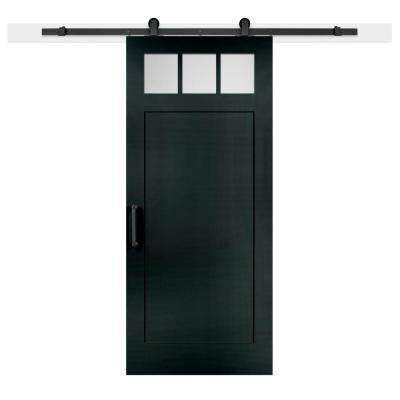 36 in. x 84 in. Knight Craftsman Privacy 3-Lite Satin Solid-Core MDF Barn Door with Sliding Door Hardware Kit