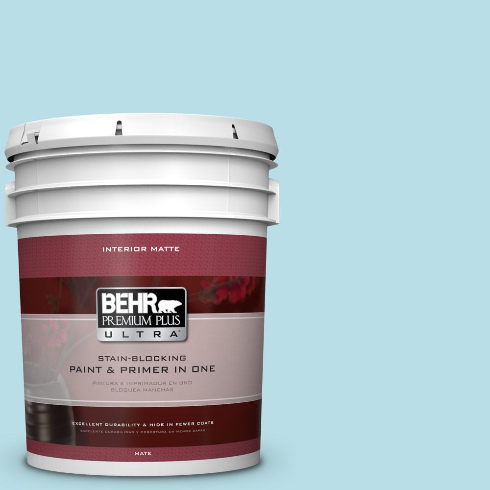 BEHR Premium Plus Ultra 5 gal. #M470-2 Basin Blue Matte Interior Paint and Primer in One