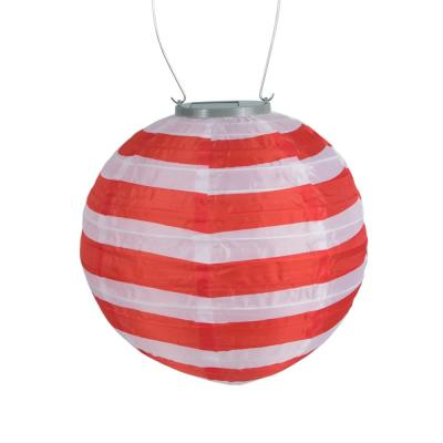 Glow 10 in. Red and White Stripe Round Integrated LED Hanging Outdoor Nylon Solar Lantern