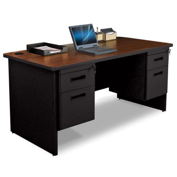 60 in. W x 30 in. D Mahogany Laminate and Black