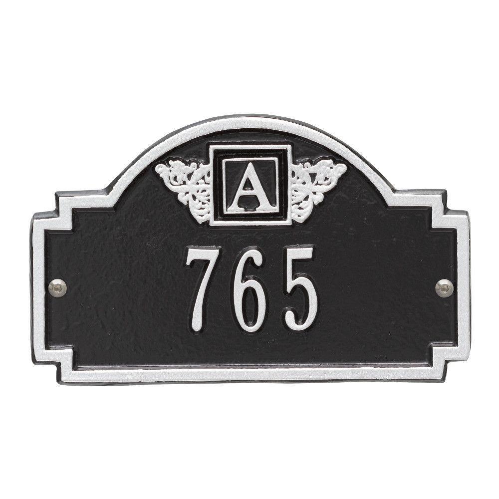 Whitehall Products Monogram Petite Wall Square Black/Silver 1-Line Address Plaque