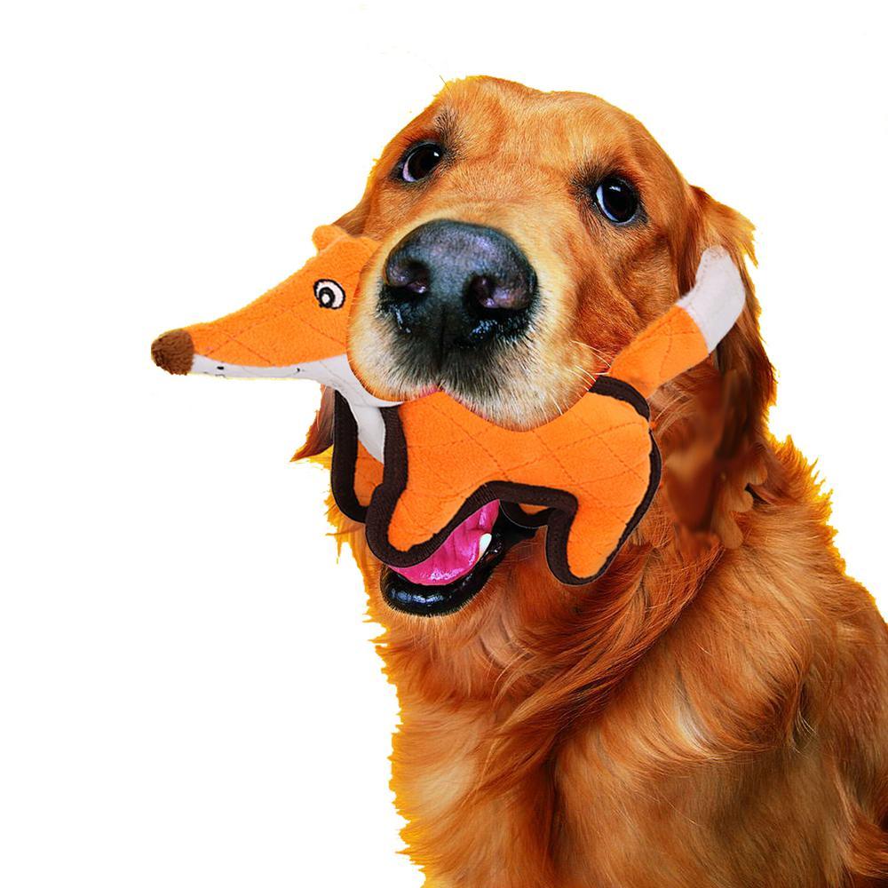 Orange Foxy-Tail Quilted Plush Animal Squeak Chew Tug Dog Toy