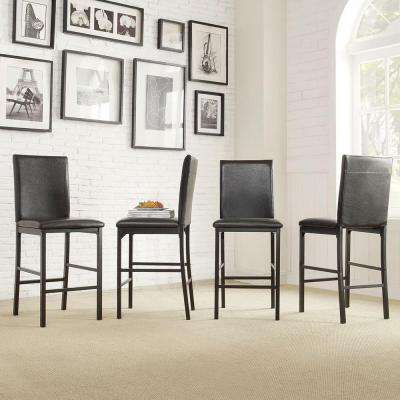 24 in. Bedford Black Cushioned Bar Stool (Set of 4)