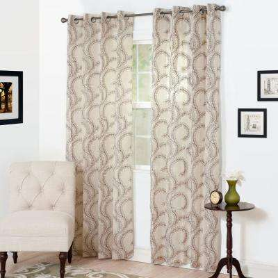 Semi-Opaque Andrea Chocolate Polyester Curtain Panel 54 in. W x 84 in. L