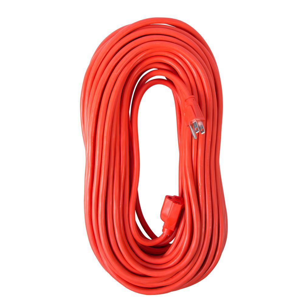 100 ft. 14/3 SJTW 15 Amp/125-Volt Outdoor Single Receptacle Extension Cord, Orange